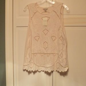 NWT Lucky Brand Off White Cut Out Sleeveless Top